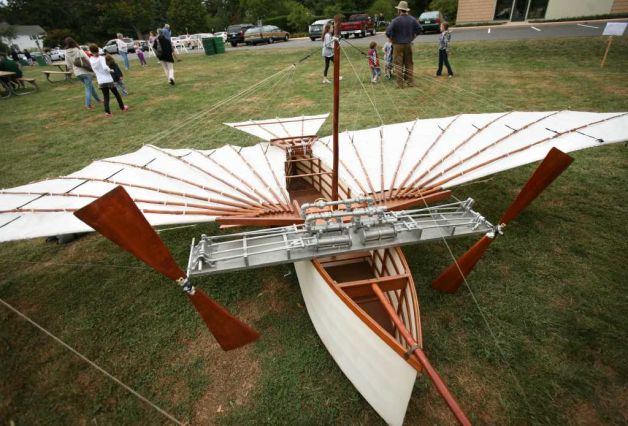 A one half scale model of Gustave Whitehead's Number 21, the plane he reportedly flew over Fairfield on the morning of August 14, 1901