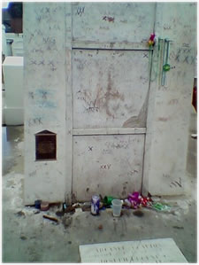 Marie Catherine Laveau is buried in a mausoleum in St. Louis Cemetery